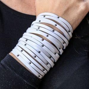 L&B Studded Cuff Bracelet - White